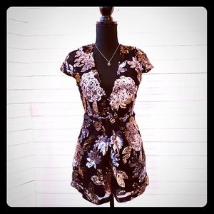 *NWT* Luxxel Silver & Gold Floral Sequin Romper